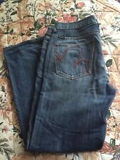 Marc Ecko Men's Jean  W36/32 Times Square Boot Cut Distressed Denim Embroidered