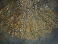 """1m  bridal new gold  embriodery Fabric scalloped both sides Floral lace 52"""""""