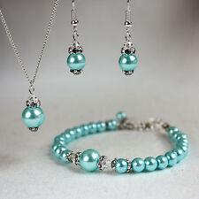 Aqua blue crystal pearl necklace bracelet earring silver wedding bridesmaid set