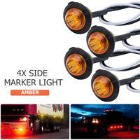 """4X 3/4"""" Amber Yellow 12V Round Bullet Side Marker Truck Trailer Mini LED Lights"""