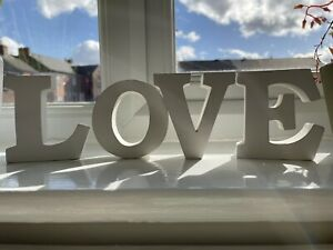 Love Letters Sign Free Standing Grey White