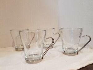 Bormioli Rocco 7.5 ounces Cappuccino glasses Set of 4 . Removable handles. Italy