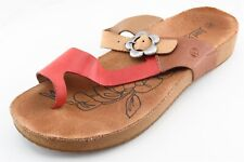 Josef Seibel Flip Flops Brown Leather Women Shoes Size 41 Medium (B, M)