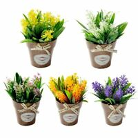 Artificial Flower Grass With Plastic Vase Home Room Floral Colorful Decor Living