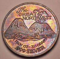 """BU UNC """"THE GREAT NORTHWEST"""" SILVER TRADE UNIT ROUND VINTAGE TONED COLOR (DR)"""