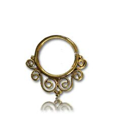Septum 9Mm Ring Diameter Nose Hoop Ornate 14G (1.6mm) Afghan Style Brass Hanging