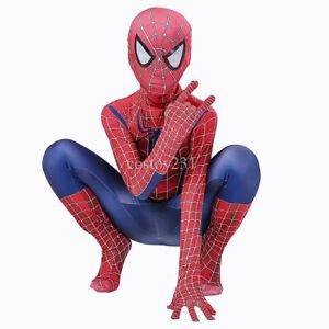 Spiderman Tobey Maguire Cosplay Costume Kids Boys Jumpsuit Zentai Suit Halloween