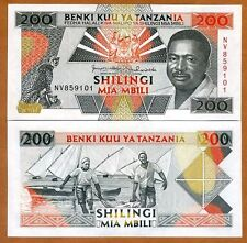 Tanzania 200 Shillings, ND (1993), P-25, UNC > President, Leopards, Fishermen