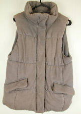 Womens L The Gap Gray Quilted Puffer Vest Jacket Zipper & Button Up Large