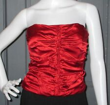 NWT red LAUNDRY by SHELLI SEGAL red SILK top CORSET bustier S strapless NEW