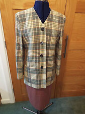 JAEGER PINK/GREEN/IVORY CHECK JACKET WITH CO-ORDINATED PINK SKIRT - SIZE 8