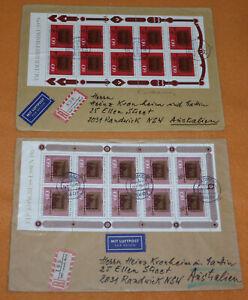 Tag der Briefmarke Kleinbogen 1979 + 1980 2 R-Briefe Lehmen Randwick Australien