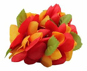 Hawaiian Lei Party Luau Wristband hand Flower Royal Multiple pack Red Yellow