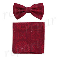Men's microfiber Pre-tied Bow Tie & hankie set Red floral formal wedding