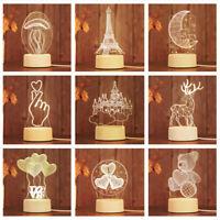 Festival Gift 3D LED illusion USB  Table Night Light Lamp Bedroom Child Surprise