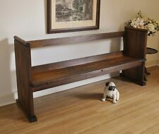 Rustic Antique Vintage Hardwood Church Pew /Hall /Window /Feature /Bench Seat