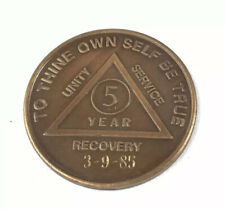 Alcoholics Anonymous Recovery Coin Bronze 5 Years    39 F AA TOKEN