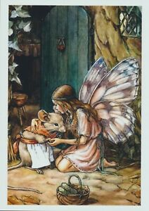 Cicely Mary Barker Fantasy Art Print Mouse FAIRY VISIT Comfort Dormouse House