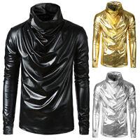 MEN'S Metallic Shiny Gloved Sleeve PILE COLLAR TURTLE NECK T-shirt Nightclub Top