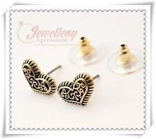 Vintage Bronze Heart Stud Earrings E131