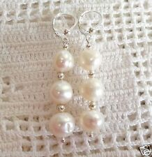Beautiful Genuine White Baroque Pearl Dangle Earrings in Sterling Silver