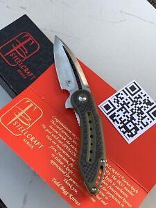 NEW NIB Todd Begg Knives STEELCRAFT Mini Glimpse Green Carbon Fiber Knife Blade