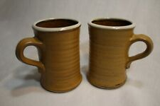 Set Of 2~ Tan With Cream Rim Stoneware Mugs 8 Oz.