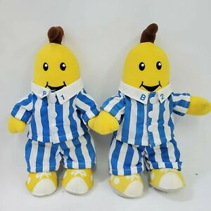 "Vintage Bananas In Pajamas TOMY Plush Dolls 12"" B1 & B2 Set 1995 Rare"