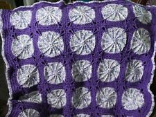 New! Handmade Crochet Blanket Lap Throw Afghan - purple, white, pale teal