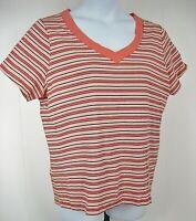 St. John's Bay Plus Size 1X Orange Striped Short Sleeve Cotton Knit Top