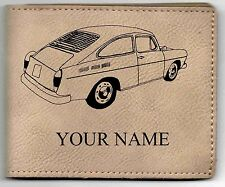 VW Type 3 Fastback Leather Billfold With Drawing & Your Name On It-Nice Quality