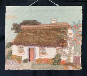 Vintage Needlework Architectural Rustic Country Thatch House 3D Wall Art Hanging