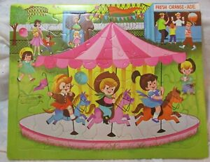 VINTAGE 1960's BUILT RITE NO 132:29 INLAID PUZZLE CARNIVAL FAIR MERRY GO ROUND