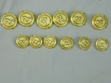 Buttons Goldtone Metal Embossed Galopping Horse 2 Sizes Mustang