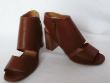 BNWT NEXT peep toe 100% tan brown leather cut out ankle boot shoes side zip  7
