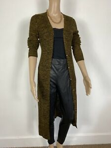 Topshop brown Fine knit Ribbed Long Line 90s Y2k Cardigan Size 12