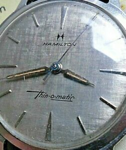 Satin Dial Vintage S/S Men's 1960s Hamilton Thin-O-Matic Automatic Swiss Watch