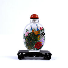 Inner Painting Snuff Bottle Chinese Antique Beautiful Peacock Symbolize Rich