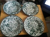 Set of 4  Enamel Ware Bowls Green & White Splatter 8 Inches Wide