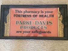 Antique PARKE-DAVIS---PHARMACY reverse painted GLASS  advertsing  sign