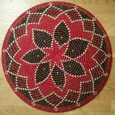 """Traditional African Woven Coiled Basket Wall Decor Art 23"""" Uganda Red Black"""