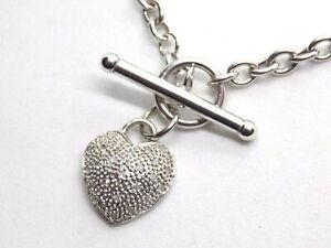"9ct White Gold 17""  Choker Necklace. T-bar Diamond Heart. DIA . 0.10ct"