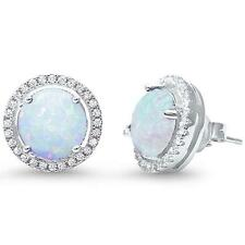 Halo Lab Created White Opal .925 Sterling Silver Earrings