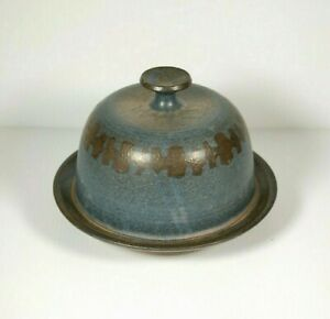 Vintage Studio Pottery Cheese Dome Blue Rustic Farm House Cloche Marked BB