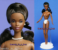 Refined AA African American Wavy Long Ponytail Updo NUDE Barbie Doll & Stand