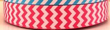 "1 metre  x 7/8"" CHEVRON PATTERN PINK WITH LIGHT PINK ZIG ZAG GROSGRAIN RIBBON"