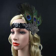 Black peacock Feather Headband Flapper 1920s Great Gatsby Headpiece Headdress
