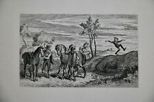 George Cruikshank Comical Etching Proof Before Letters on Chine Colle