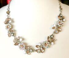Vintage Designer Floral Borealis Rhinestone Crystal Necklace