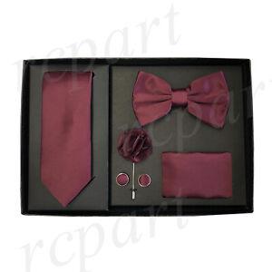 New formal Men's lapel pin skinny necktie hankie cufflinks bowtie gift Burgundy